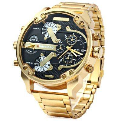 Relógio Dourado Masculino Dual Time Steel