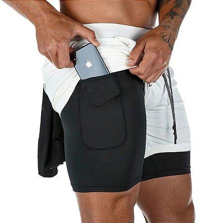 Shorts Masculino Para Exercícios com Bolso Interno - Branco