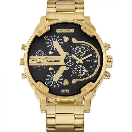Relógio Masculino Dourado Dual Time 6820