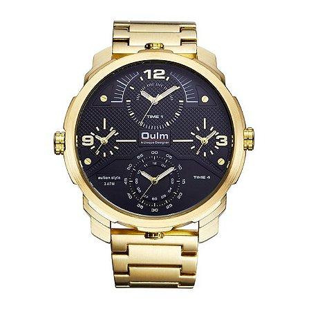 Relógio Dourado Masculino Oulm Four Time
