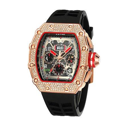 Relógio Masculino Pin Time Cristal