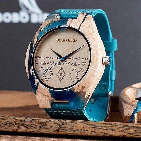 Relógio Feito em Bambu Blue