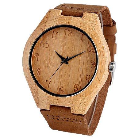 Relógio Artesanal Yusuya Numbers - Feito em Bambu
