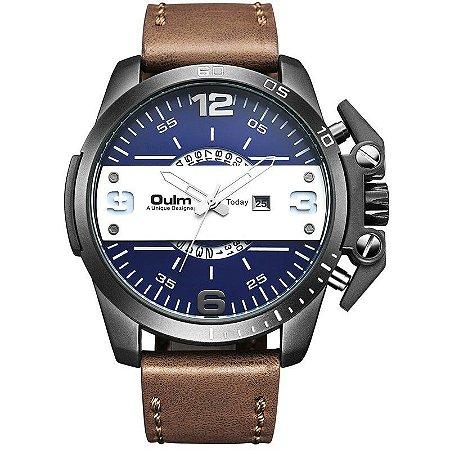 Relógio Masculino com Pulseira em Couro OULM DZ Style