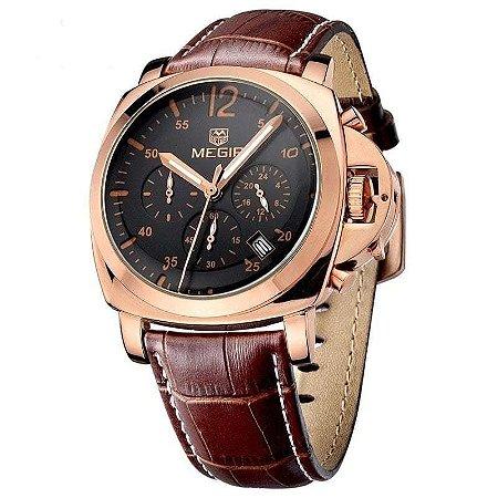 Relógio Masculino com Pulseira em Couro Megir Luxury Funcional