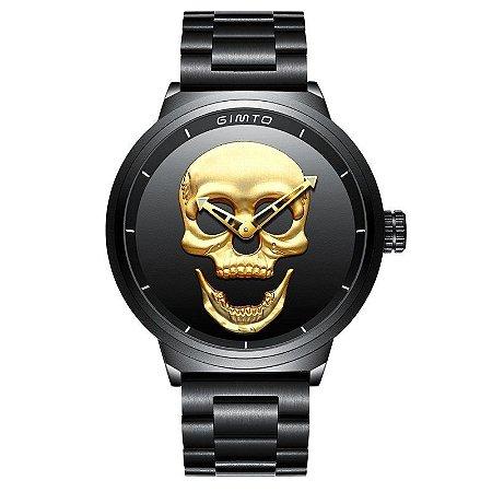 Relógio Masculino Gimto Skull Stell