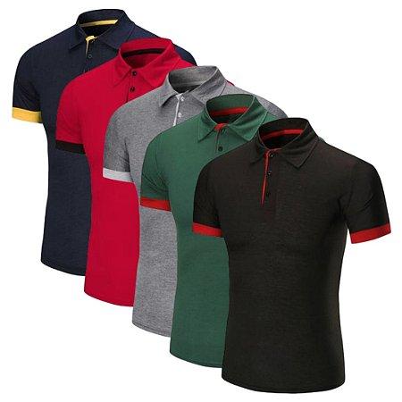 Kit com 5 - Camisa / Camiseta Polo Masculina - em Algodão