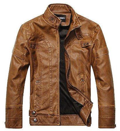 Jaqueta em Couro Masculina estilo Motoqueiro - 3 cores