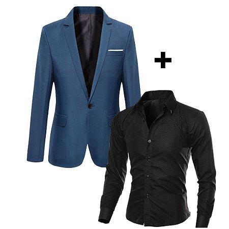 Kit com 1 Blazer Esporte Fino + 1 Camisa Social Slim Fit em Algodão
