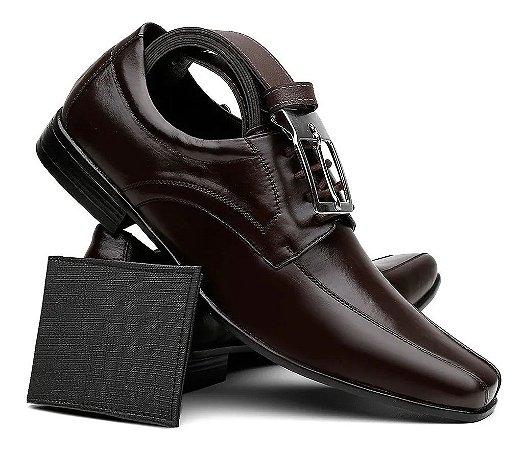 Sapato Social Masculino em Couro + Cinto + Carteira
