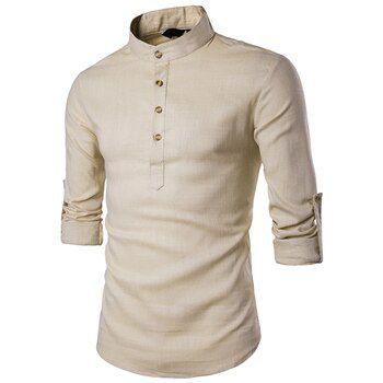 Camisa Masculina de Manga Longa - Gola Padre