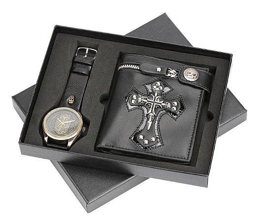 Kit Presente para Homens com 1 Relógio + 1 Carteira em Couro - Punk