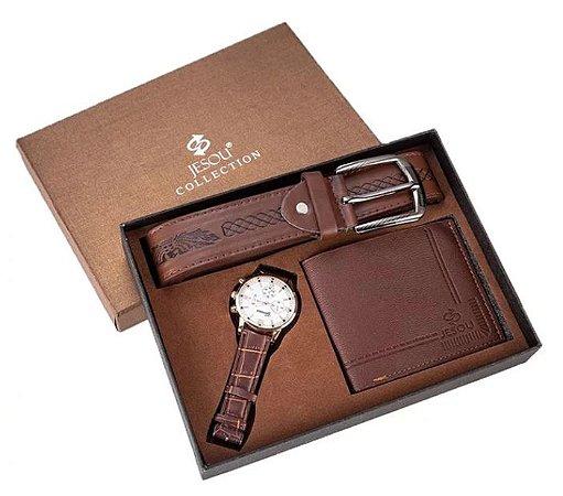 Kit Presente para Homens com 1 Relógio + 1 Carteira em Couro + 1 Cinto em Couro