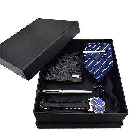 Kit Presente para Homens com 1 Relógio + 1 Gravata + 1 Caneta + 1 Carteira em Couro