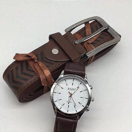 Kit Presente para Homens com 1 Relógio + 1 Cinto em Couro