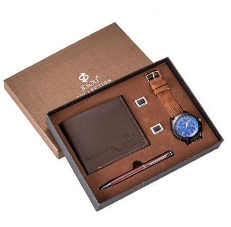 Kit Presente para Homens com 1 Relógio + 1 Carteira em Couro + 1 Caneta