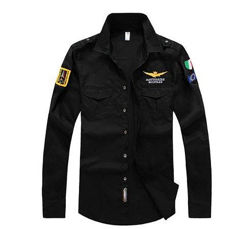 Camisa Masculina de Manga Longa - Militare - 100% Algodão