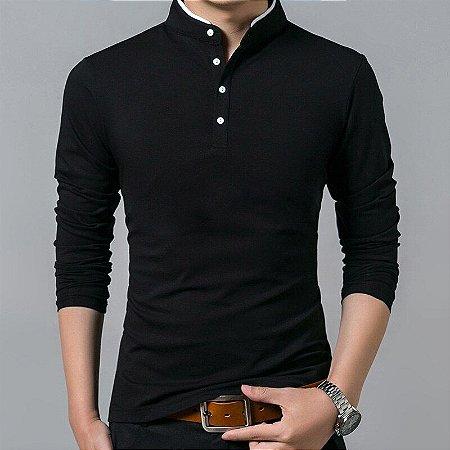 Camisa Masculina Manga Longa Gola Padre - Algodão