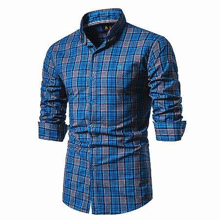 Camisa Masculina Slim Fit Xadrez IAI - 100% Algodão
