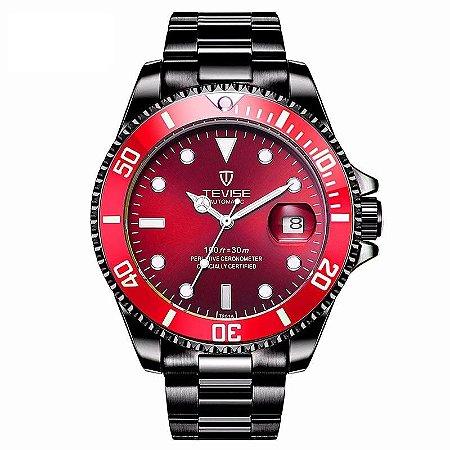 Relógio Masculino Automático Tevise Submariner - Black