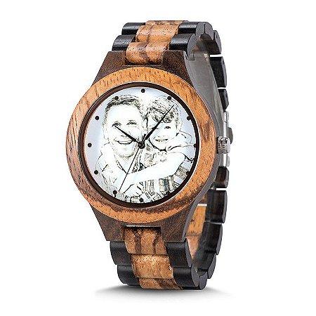 Relógio Feito em Bambu Personalizado Com a Sua Foto