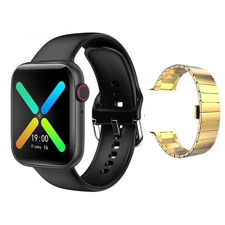 Relógio Smartwatch Inteligente X8 44mm + Pulseira em Aço