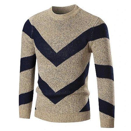 Blusa Cardigan Masculino em Tricot Lã Canelada