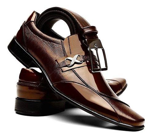 Sapato Social Masculino Couro Envernizado + Cinto Social