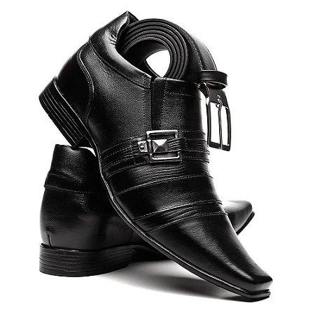 Sapato Masculino em Couro com Solado Alto (7 cm) + Cinto Social