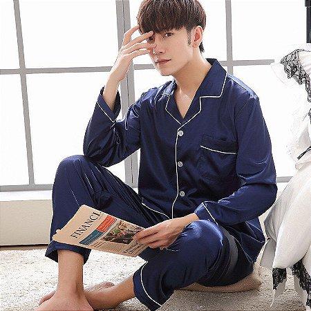 Pijama Longo de Seda Masculino / Feminino