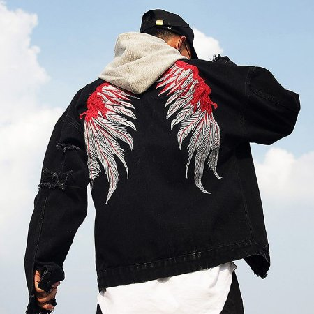 Jaqueta Jeans Masculina Preta Destroyed Angel's Wings