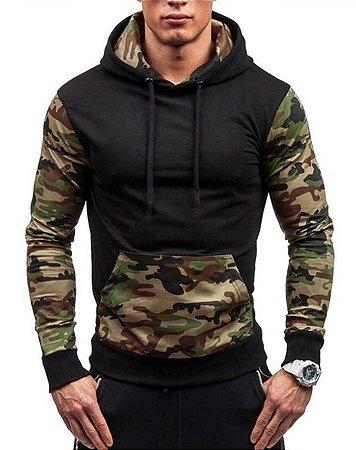 Blusa Masculina Camuflada em Moletom com Capuz - Militar