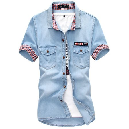 Camisa Jeans Masculina Manga Curta - Great Britain