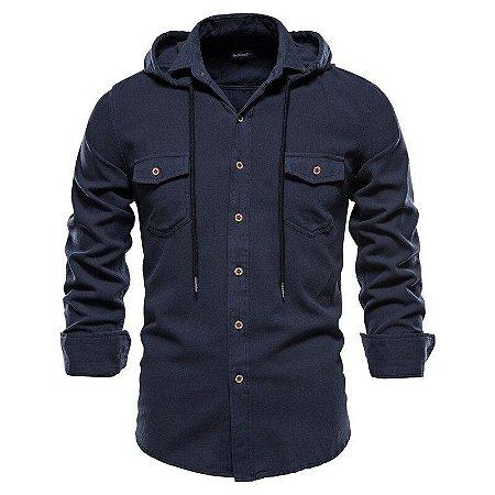 Jaqueta Overshirt Masculina com Capuz - 100% Algodão