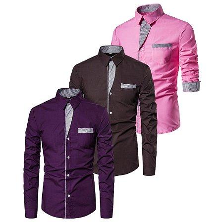 Kit com 3 - Camisa Social Masculina Slim Fit em Algodão