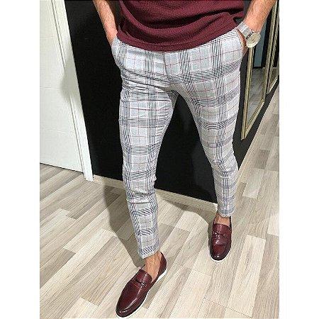 Calça Masculina Esporte Fino Xadrez - Super Skinny