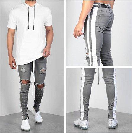 Calça Jeans Masculina Destroyed Super Skinny - Faixa Lateral