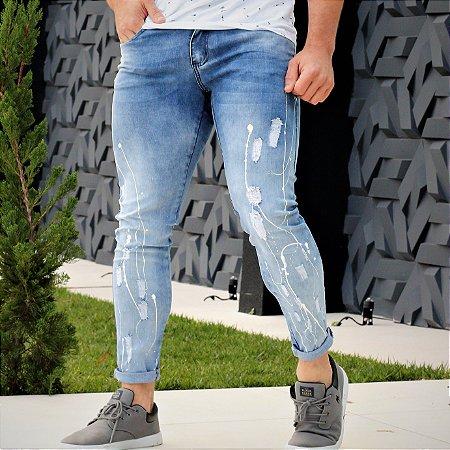 Calça Jeans Masculina Super Skinny Splash