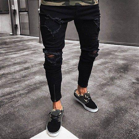 Calça Jeans Masculina Skinny Destroyed - Zíper na Barra