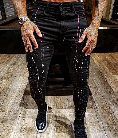 Calça Jeans Masculina Super Skinny Destroyed Splash