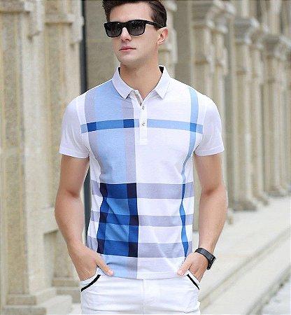 Camisa Polo Masculina Xadrez em Algodão Premium