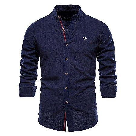 Camisa Masculina Gola Padre em Linho Premium