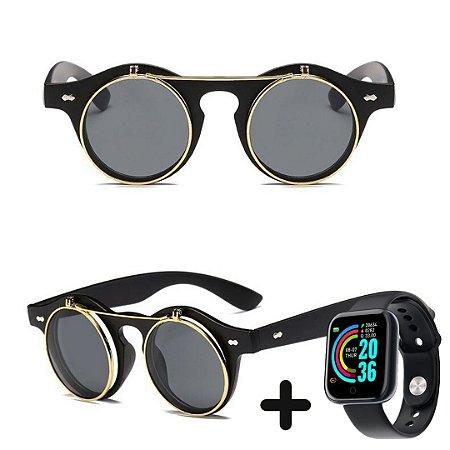 Óculos de Sol Vintage Steampunk + Smartwatch Grátis