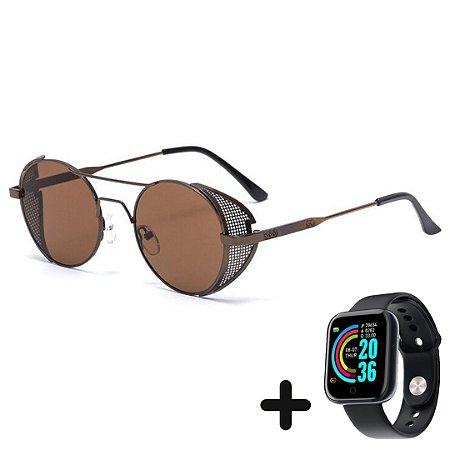 Óculos de Sol Steampunk com Proteção Lateral + Smartwatch Grátis