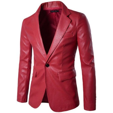 Blazer em Couro Masculino Slim Fit - Outlet