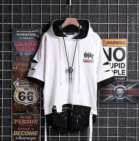 Camiseta Hip Hop StreetWear Com Capuz What