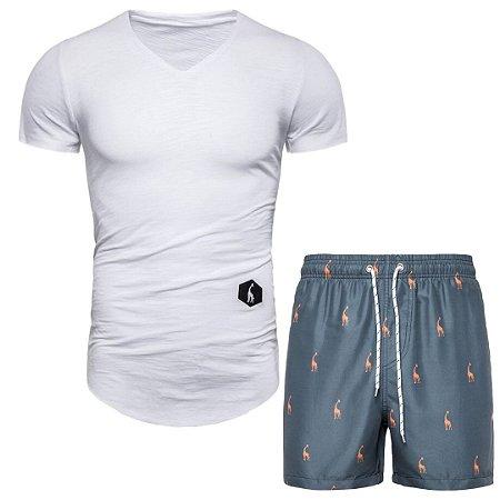 Kit com 1 Camiseta Long Fit e 1 Shorts Estampado GRF