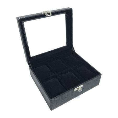 Maleta Estojo Porta Relógios - Caixa para 6 relógios - Preta