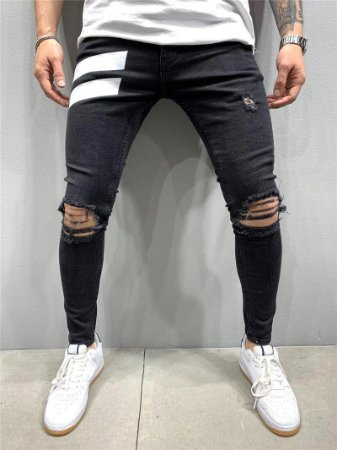 Calça Jeans Masculina Skinny com Elastano - Preta