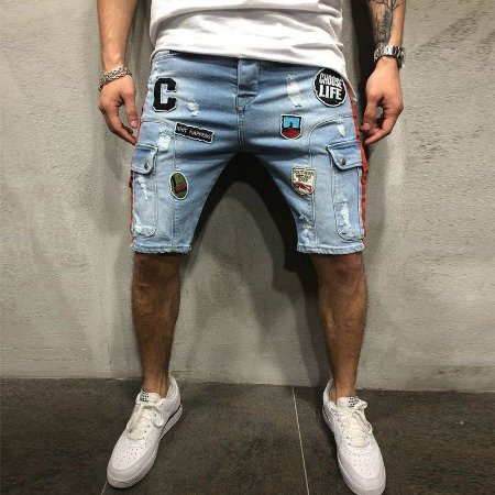 Bermuda Jeans Skinny Destroyed - Com Patches e Bolsos Laterais